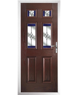 The Oxford Composite Door in Rosewood with Blue Crystal Harmony