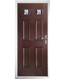 The Ipswich Composite Door in Rosewood with Blue Crystal Harmony