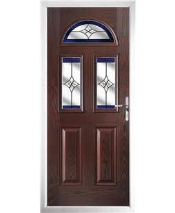 The Glasgow Composite Door in Rosewood with Blue Crystal Harmony