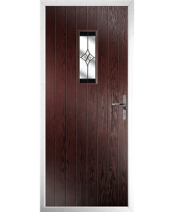 The Taunton Composite Door in Rosewood with Black Crystal Harmony