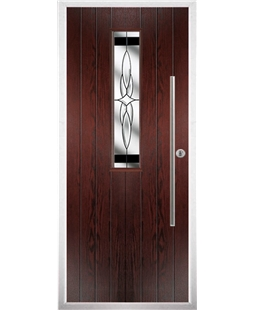 The York Composite Door in Rosewood with Black Crystal Harmony