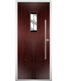 The Zetland Composite Door in Rosewood with Black Crystal Harmony