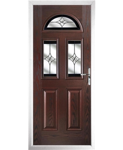 The Glasgow Composite Door in Rosewood with Black Crystal Harmony
