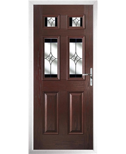 The Oxford Composite Door in Rosewood with Black Crystal Harmony