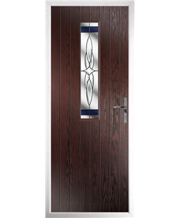 The Sheffield Composite Door in Rosewood with Blue Crystal Harmony