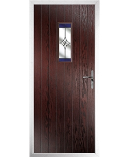 The Taunton Composite Door in Rosewood with Blue Crystal Harmony