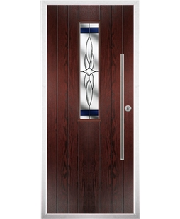 The York Composite Door in Rosewood with Blue Crystal Harmony