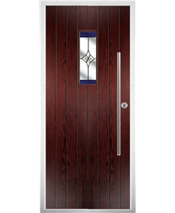 The Zetland Composite Door in Rosewood with Blue Crystal Harmony