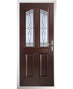 The Birmingham Composite Door in Rosewood with Crystal Harmony Frost