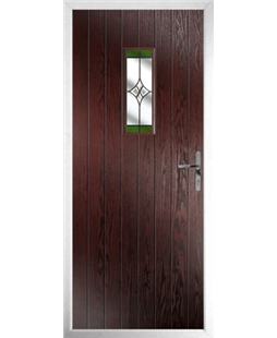 The Taunton Composite Door in Rosewood with Green Crystal Harmony
