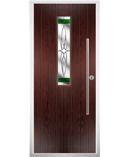 The York Composite Door in Rosewood with Green Crystal Harmony