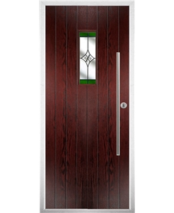 The Zetland Composite Door in Rosewood with Green Crystal Harmony