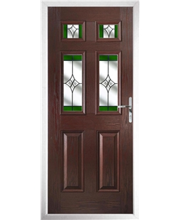 The Oxford Composite Door in Rosewood with Green Crystal Harmony