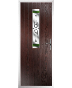 The Sheffield Composite Door in Rosewood with Green Crystal Harmony