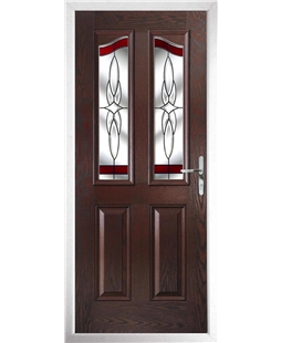 The Birmingham Composite Door in Rosewood with Red Crystal Harmony