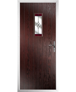 The Taunton Composite Door in Rosewood with Red Crystal Harmony