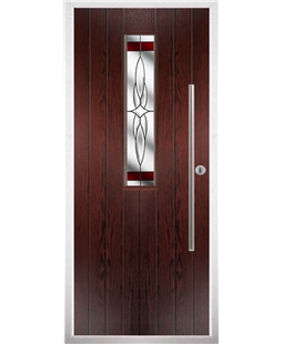 The York Composite Door in Rosewood with Red Crystal Harmony