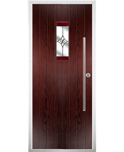 The Zetland Composite Door in Rosewood with Red Crystal Harmony