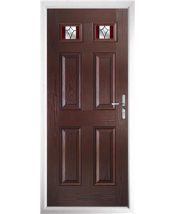 The Ipswich Composite Door in Rosewood with Red Crystal Harmony