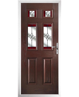 The Oxford Composite Door in Rosewood with Red Crystal Harmony