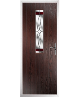 The Sheffield Composite Door in Rosewood with Red Crystal Harmony