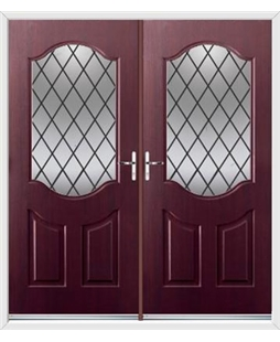 Georgia French Rockdoor in Rosewood with Diamond Lead