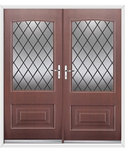 Portland French Rockdoor in Rosewood with Diamond Lead