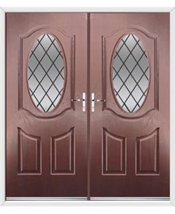 Montana French Rockdoor in Rosewood with Diamond Lead