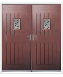 Cottage Spy View French Rockdoor in Rosewood with Diamond Lead