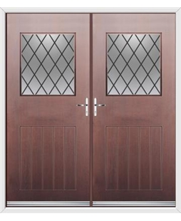 Cottage View Light French Rockdoor in Rosewood with Diamond Lead