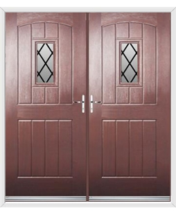 English Cottage French Rockdoor in Rosewood with Diamond Lead