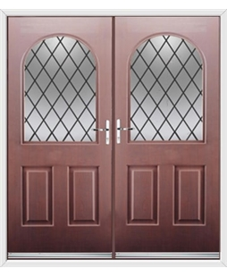 Kentucky French Rockdoor in Rosewood with Diamond Lead