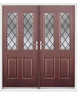 Jacobean French Rockdoor in Rosewood with Diamond Lead