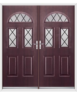 Tennessee French Rockdoor in Rosewood with Diamond Lead