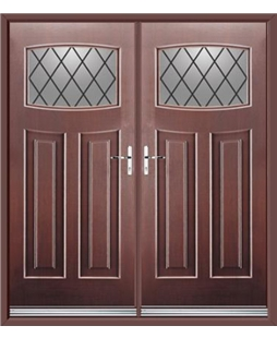 Newark French Rockdoor in Rosewood with Diamond Lead