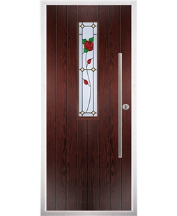 The York Composite Door in Rosewood with English Rose