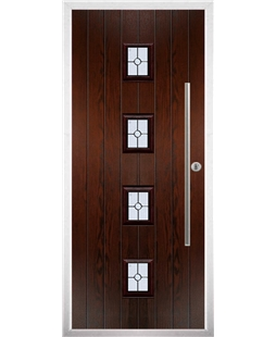 The Leicester Composite Door in Rosewood with Finesse Glazing