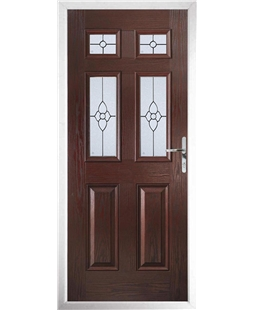 The Oxford Composite Door in Rosewood with Finesse Glazing