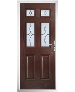 The Oxford Composite Door in Rosewood with Flair Glazing