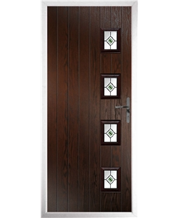 The Preston Composite Door in Rosewood with Green Fusion Ellipse