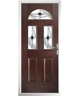 The Glasgow Composite Door in Rosewood with Black Fusion Ellipse