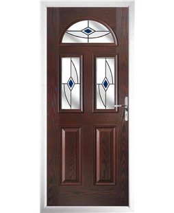 The Glasgow Composite Door in Rosewood with Blue Fusion Ellipse