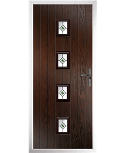 The Uttoxeter Composite Door in Rosewood with Green Fusion Ellipse