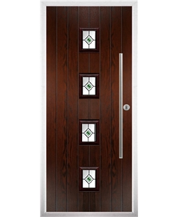 The Leicester Composite Door in Rosewood with Green Fusion Ellipse