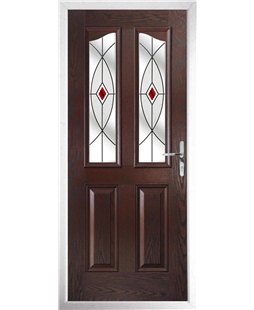 The Birmingham Composite Door in Rosewood with Red Fusion Ellipse