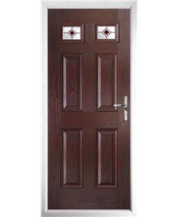 The Ipswich Composite Door in Rosewood with Red Fusion Ellipse
