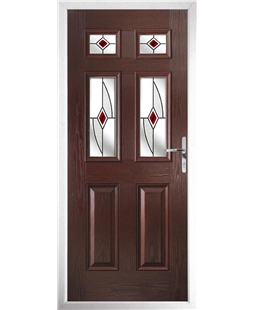 The Oxford Composite Door in Rosewood with Red Fusion Ellipse