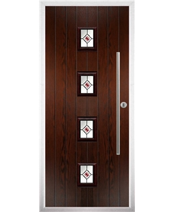 The Leicester Composite Door in Rosewood with Red Fusion Ellipse