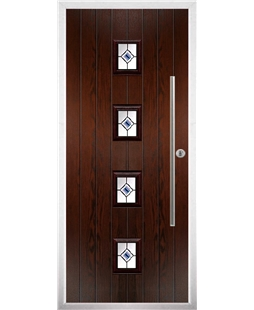 The Leicester Composite Door in Rosewood with Blue Fusion Ellipse