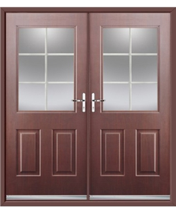 Windsor French Rockdoor in Rosewood with White Georgian Bar